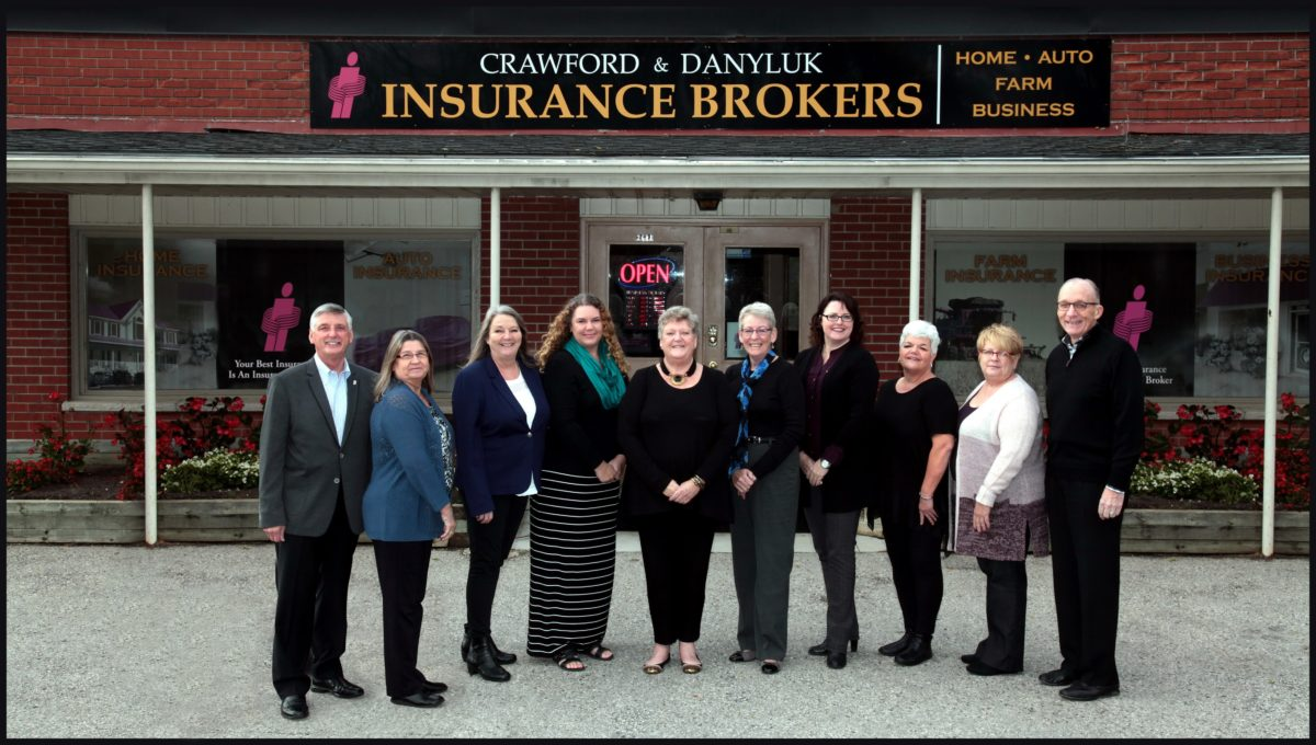 Pictured left to right: Dan Danyluk, Senior Partner; Sue Deeks, Policy Processor; Cathy Fallowfield, Director of Operations; Laura Nemeth, Policy Processor & Bookkeeper; Patty Crawford, Chairman of the Board; Dianne Ennis, Registered Insurance Broker; Sheri Martin, Registered Insurance Broker; Julie Kowal, Policy Processor; Trudy Tessier, Technology Manager & Office Manager; Gary Goyeau, President & CEO.